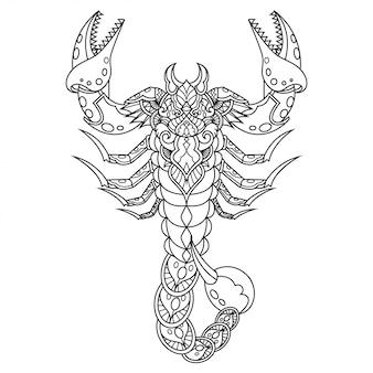 Styl liniowy zentangle skorpion mandala