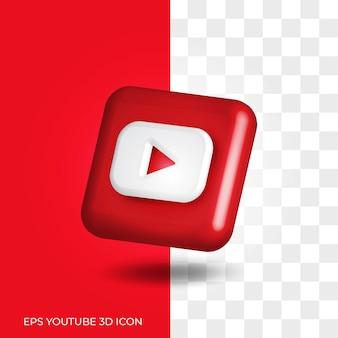 Styl logo youtube 3d w okrągłym rogu kwadratowy zasób ikony na białym tle