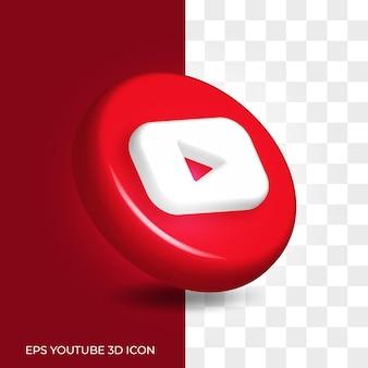 Styl logo youtube 3d w zaokrąglonym zasobie ikony na białym tle