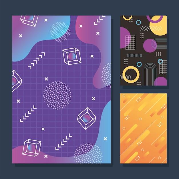 Styl memphis banner geometryczny modny streszczenie szablon zestaw ilustracji