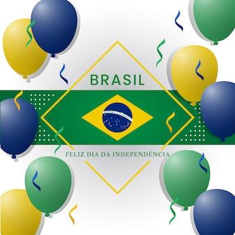 Styl memphis ilustracja dnia niepodległości brazylii z kolorowymi balonami