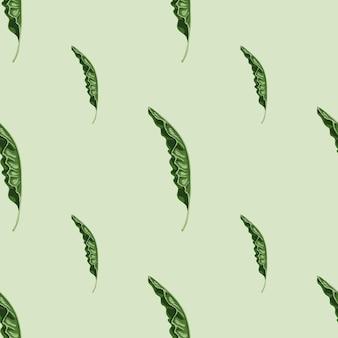 Styl minimalistyczny wzór z zielonym ornamentem liści palmowych. szare tło. tło przyrody. płaski nadruk wektorowy na tekstylia, tkaniny, opakowania na prezenty, tapety. niekończąca się ilustracja.