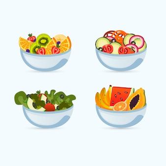 Styl misek owocowych i sałatkowych