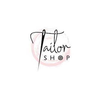 Styl napisu logo sklepu krawieckiego z igłą