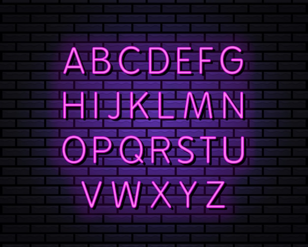Styl neon alfabetu