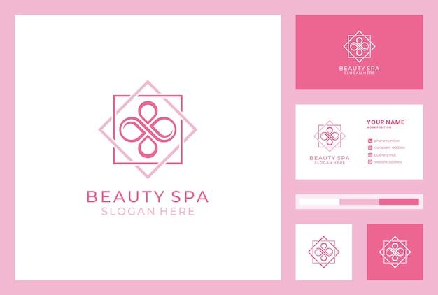 Styl nieskończoności projektowania logo salonu piękności. ikona sklep kosmetyczny. tożsamość marki spa z szablonem wizytówki.