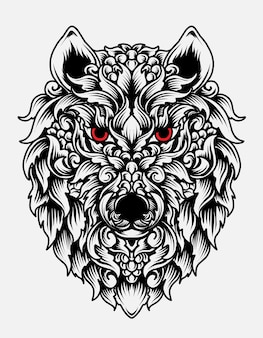 Styl ornament głowy wilka na białym tle