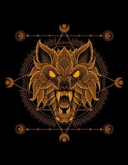 Styl ornament głowy wilka ze świętą geometrią