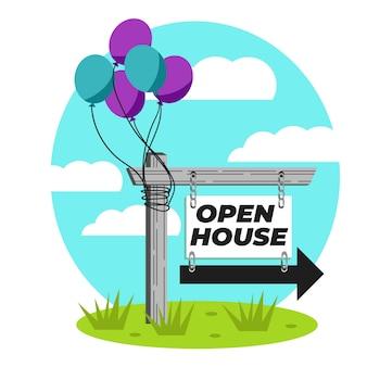 Styl otwarty dom znak nieruchomości