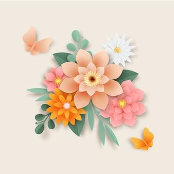 Styl papieru kwiaty w stylu gradientu