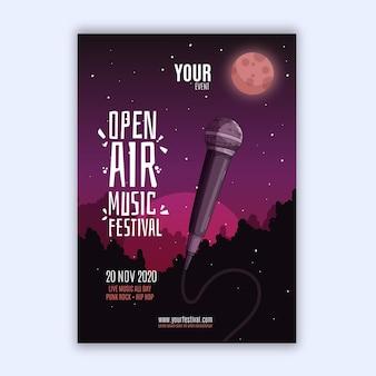 Styl plakatu festiwalu muzyki na świeżym powietrzu