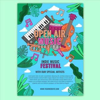 Styl plakatu imprezy festiwalu muzyki na świeżym powietrzu
