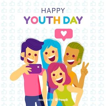 Styl płaski tło dnia młodzieży