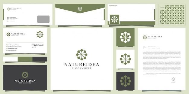Styl projektowania logo kwiat.
