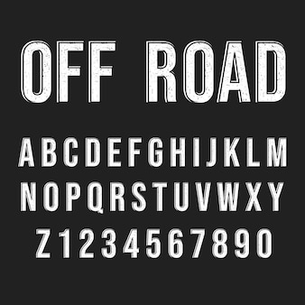 Styl przygodowy off road. nowoczesna czcionka dekoracyjna. zestaw liter i cyfr.