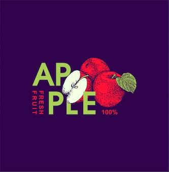 Styl ręcznie rysowane owoców jabłoni