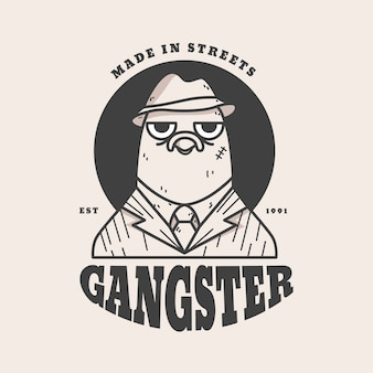 Styl retro na logo gangstera