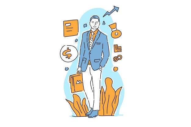 Styl rysowania ręki ilustracja sukcesu biznesmen