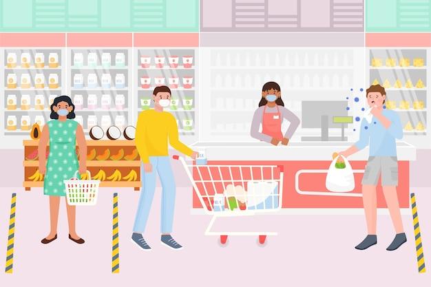 Styl supermarketu coronavirus