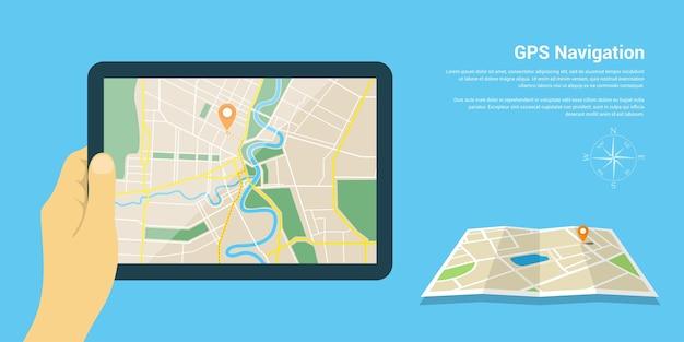 Styl szablonu banera internetowego na stronę internetową lub infografikę, mobilny system nawigacji gps, lokalizacja docelowa, wykrywanie i znajdowanie właściwej drogi.