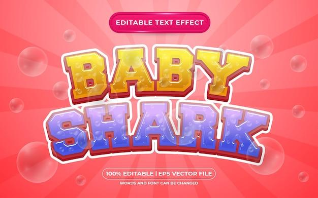 Styl szablonu edytowalnego efektu tekstowego rekina dla dzieci