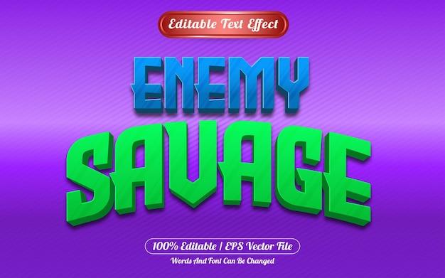 Styl szablonu edytowalnego efektu tekstowego wroga savage