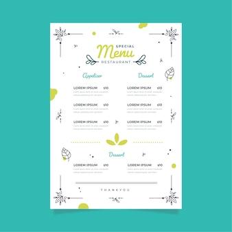 Styl szablonu menu cyfrowej restauracji