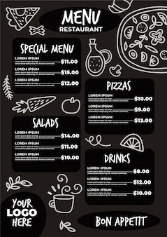 Styl szablonu menu restauracji