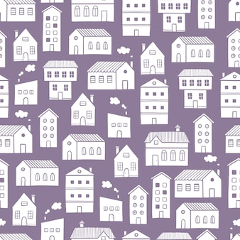 Styl szkicu doodle wzór domu