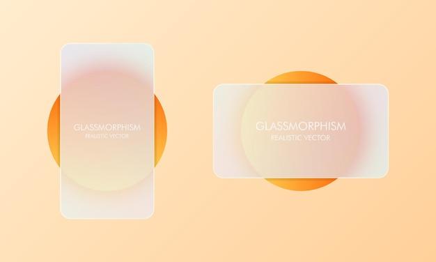 Styl szkłomorfizmu. pusty transparent sprzedaży. realistyczny efekt morfizmu szkła z zestawem przezroczystych szklanych płytek. ilustracja wektorowa.