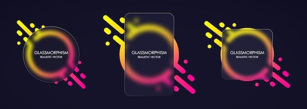 Styl szkłomorfizmu. realistyczny efekt morfizmu szkła z zestawem przezroczystych szklanych płytek.