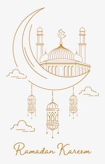 Styl sztuki dekoracji linii ramadan kareem