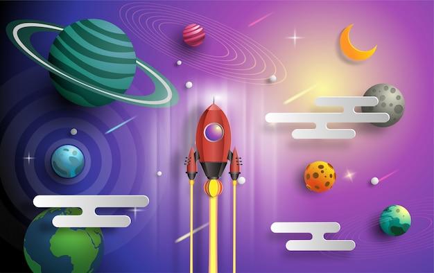 Styl sztuki papieru rakiety latające w przestrzeni z koncepcją uruchomienia.
