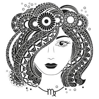 Styl tatuażu. sylwetka piękna kobieta na białym tle. zodiak panna