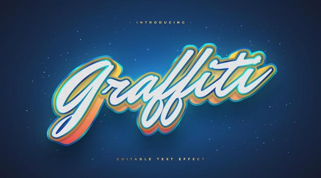 Styl tekstu 3d kolorowe graffiti ze świecącym efektem. edytowalny efekt tekstowy