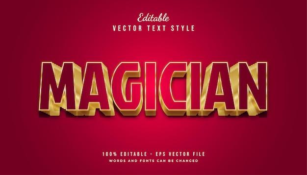 Styl tekstu magician w kolorze czerwonym i złotym z wytłoczonym efektem