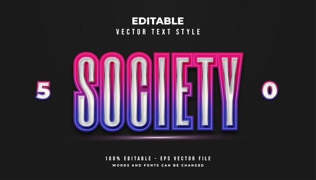 Styl tekstu społeczeństwa w kolorowym futurystycznym gradiencie z efektem świecącym
