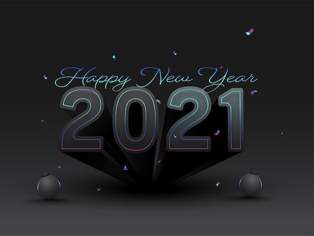 Styl tekstu z bombkami na czarnym tle na obchody szczęśliwego nowego roku.