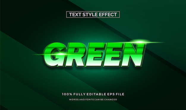 Styl tekstu zielony błyszczący motyw. efekt edycji tekstu wektorowego.