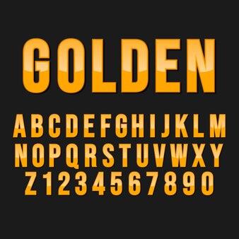 Styl typografii złoty alfabet. ozdobne czcionki nowoczesnej czcionki. zestaw liter i cyfr.