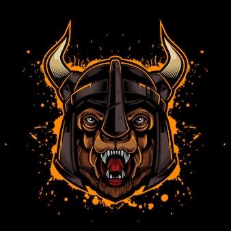 Styl vintage bear logo z hełmem viking