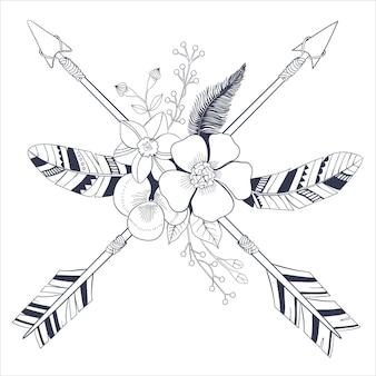 Styl vintage boho z plemiennymi etnicznymi skrzyżowanymi strzałkami