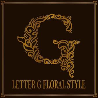 Styl vintage letter g kwiatowy wzór