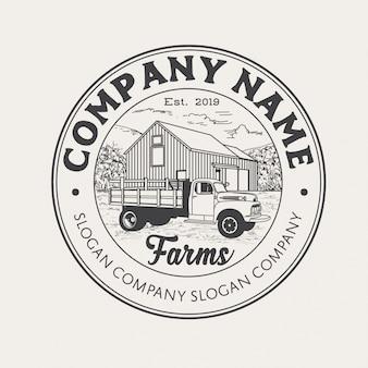 Styl vintage logo gospodarstwa