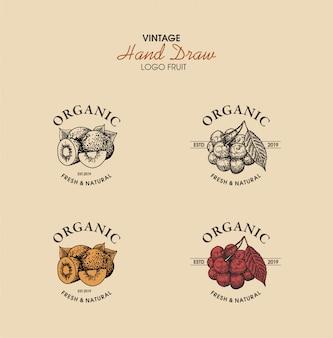 Styl vintage logo owoców wyciągnąć rękę