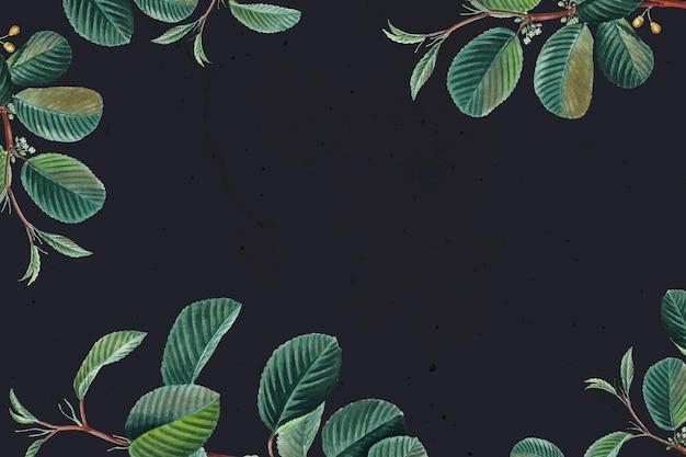 Styl vintage rama z zielonym liściem