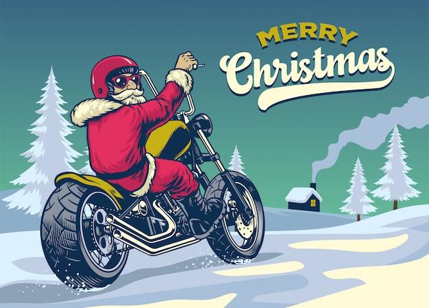 Styl vintage ręcznie rysowane świętego mikołaja, jazda motocyklem chopper