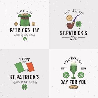 Styl vintage saint patricks day logo lub zestaw szablonów etykiet.