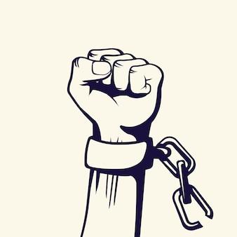 Styl vintage walka o wolność plakat. podniesiona pięść ze zerwanymi łańcuchami uderzającego mężczyzny