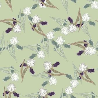 Styl vintage wzór z ornamentem kwiat irys doodle. jasnozielone tło. ilustracja wektorowa dla sezonowych wydruków tekstylnych, tkanin, banerów, teł i tapet.